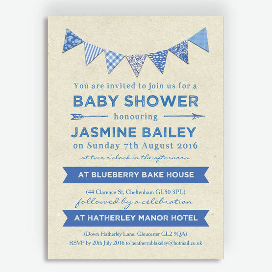 Vintage Blue Bunting Baby Shower Invitation