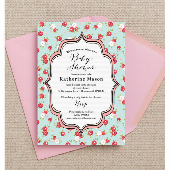 Vintage Rose Baby Shower Invitation