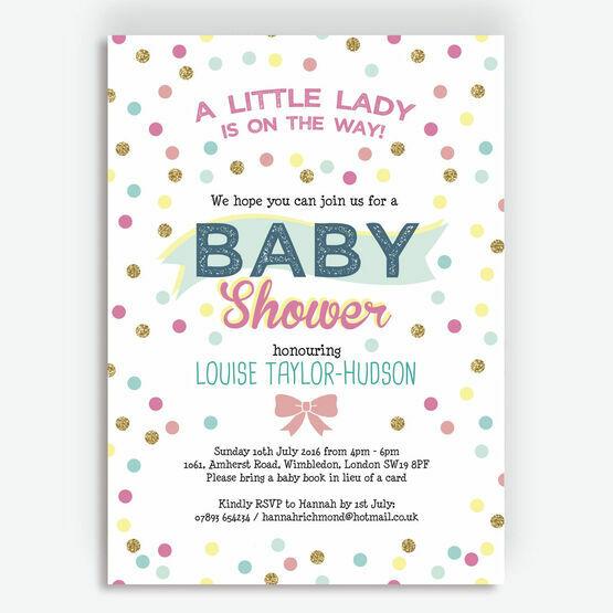 Pastel Confetti Baby Shower Invitation