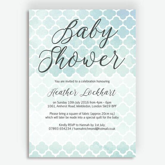 Watercolour Geometric Baby Shower Invitation