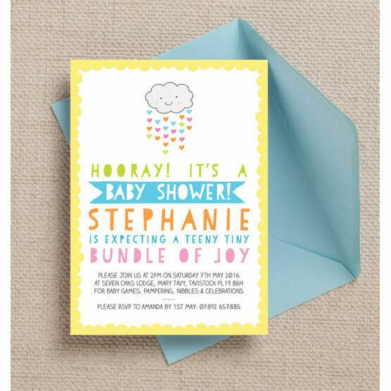 Kawaii Rain Cloud Baby Shower Invitation
