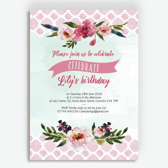 Watercolour Floral Party Invitation