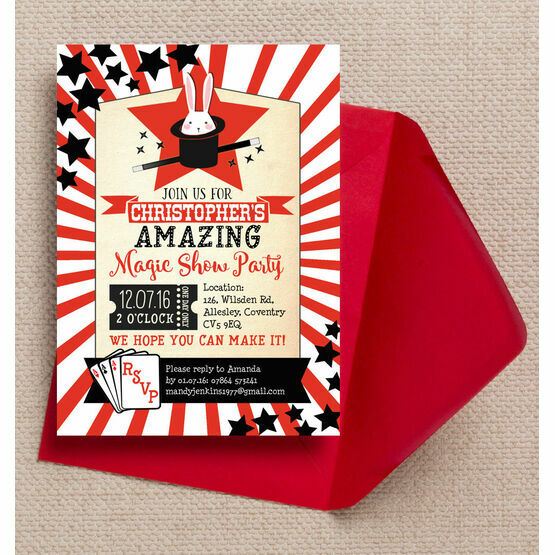 magic show party invitation from 0 80 each