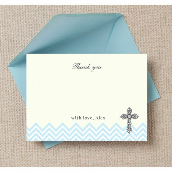 Ornate Cross Christening / Baptism Thank You Cards