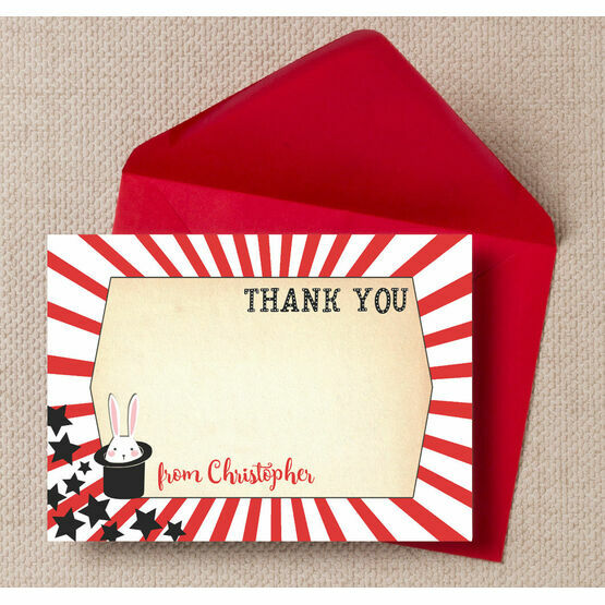 Magic Show Party Personalised Thank You Cards