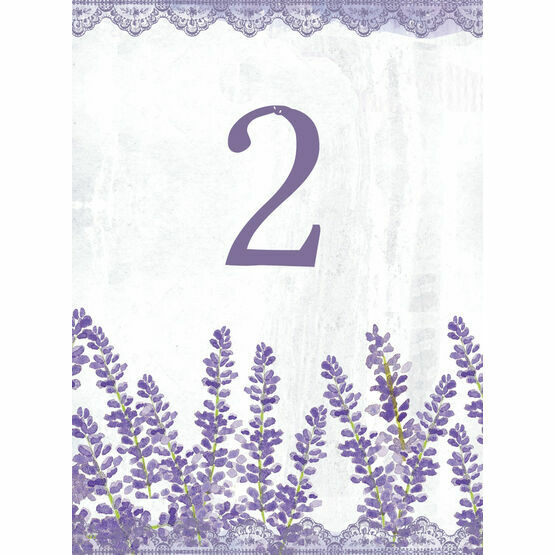 Lilac & Lavender Wedding Table Number Card