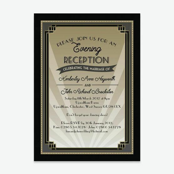 Art Deco Evening Reception Invitation