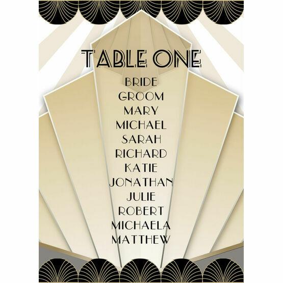 Art Deco Table Plan Card