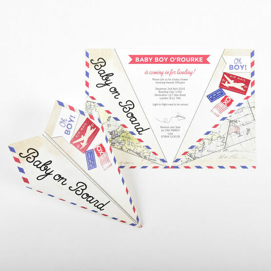 Vintage Paper Airplane Baby Shower Invitation