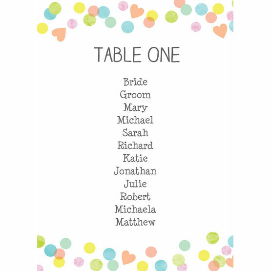 Candy Confetti Table Plan Card