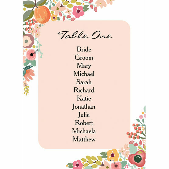 Elegant Floral Table Plan Card