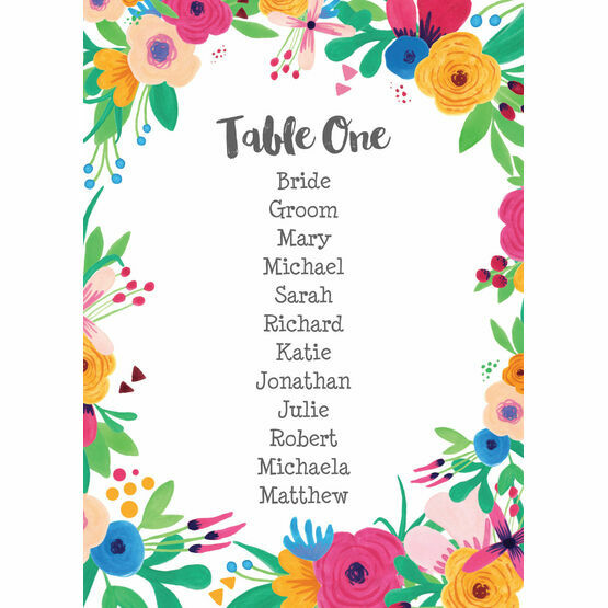 Floral Fiesta Table Plan Card