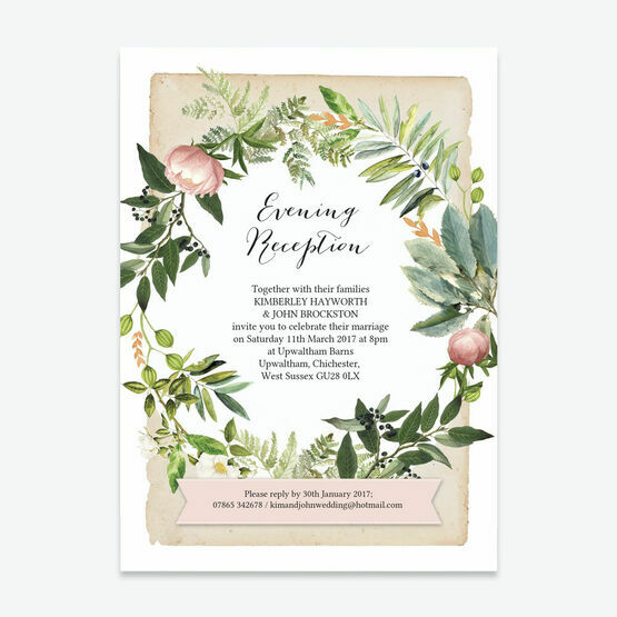 Flora Wreath Evening Reception Invitation