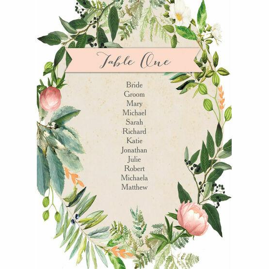 Flora Wreath Table Plan Card