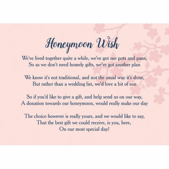 Wedding Gift Honeymoon Poem: Navy & Pink Honeymoon Wish Poem Card From £0.40 Each