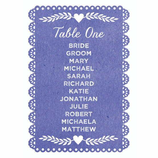 Papel Picado Table Plan Card
