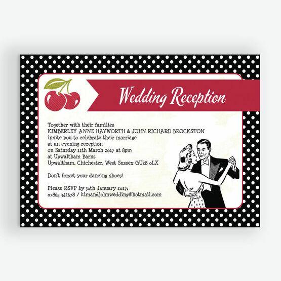 Retro Cherry Rockabilly Evening Reception Invitation