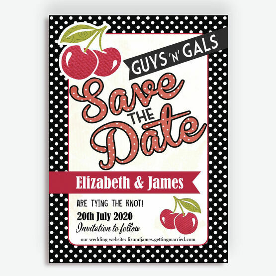 Retro Cherry Rockabilly Save the Date
