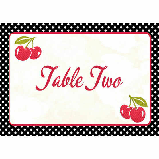 Retro Cherry Rockabilly Table Name
