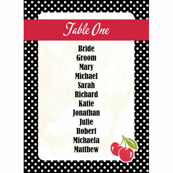 Retro Cherry Rockabilly Table Plan Card