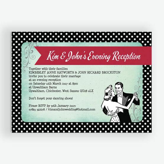 Rockabilly Retro Evening Reception Invitation