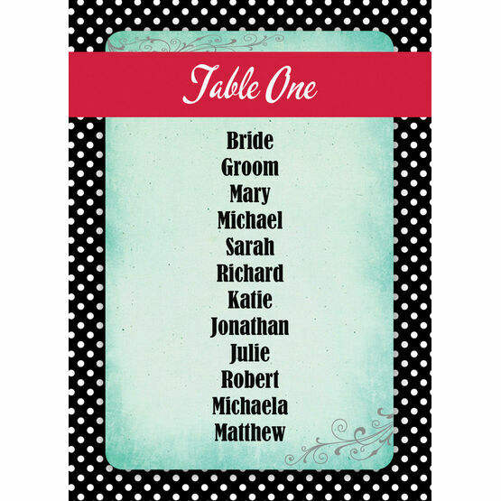 Rockabilly Retro Table Plan Card