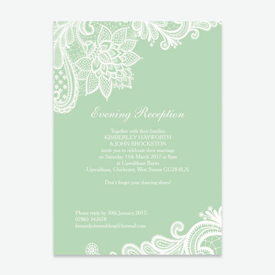 Romantic Lace Evening Reception Invitation