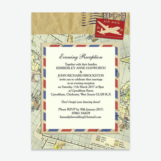 Vintage Airmail Evening Reception Invitation