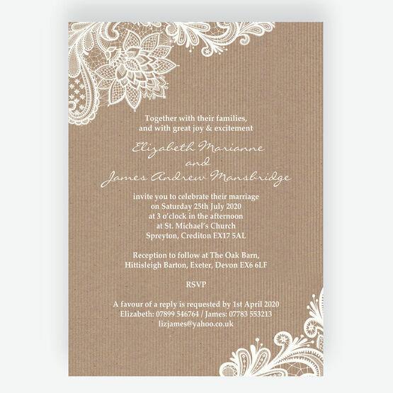 Rustic Lace Wedding Invitation