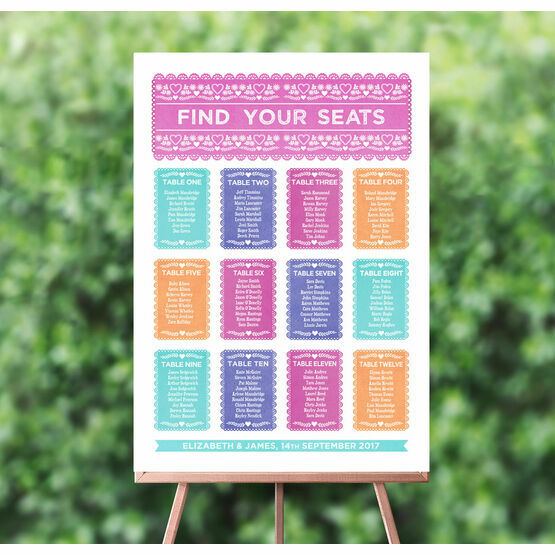 Mexican Inspired Papel Picado Wedding Seating Plan