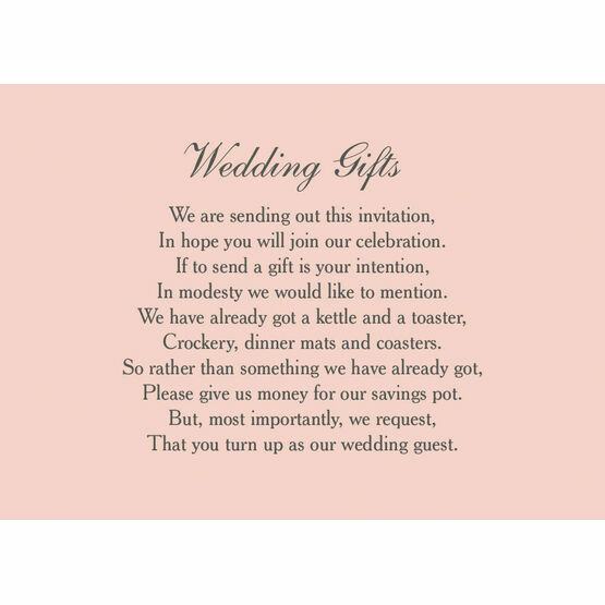 Classic Wedding Gift Wish Card