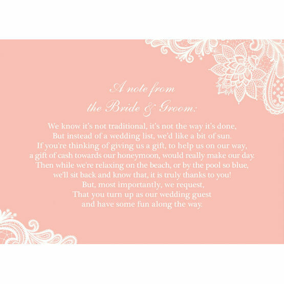 Lace Wedding Gift Wish Card