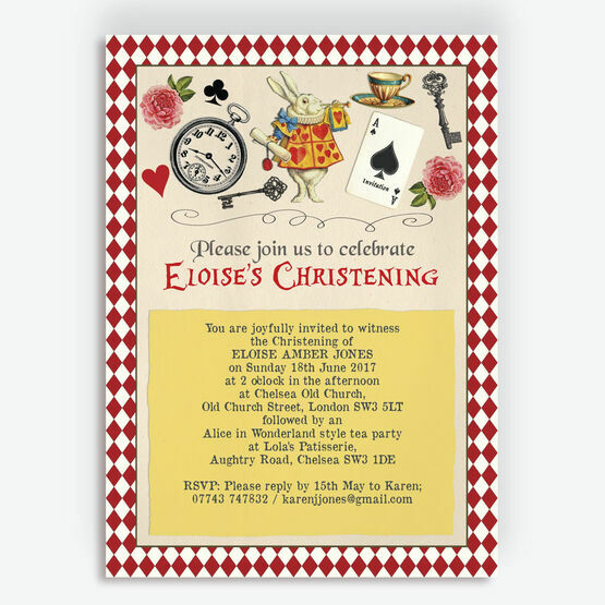Alice in Wonderland Christening / Baptism Invitation