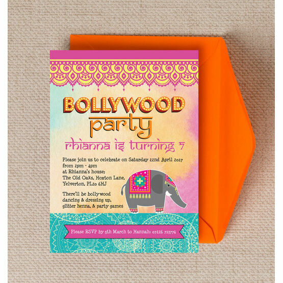 bollywood children s party invitation from 0 80 each