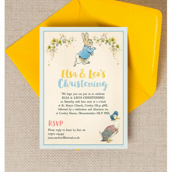 Peter Rabbit & Jemima Puddle Duck Christening / Baptism Invitation