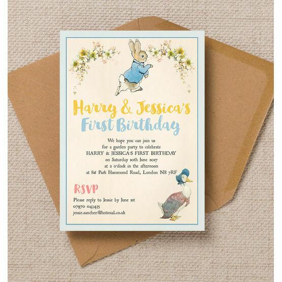 Peter Rabbit & Jemima Puddle Duck Party Invitation