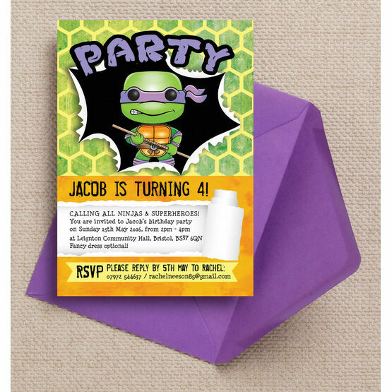 turtle superhero birthday party invitation from 0 80 each