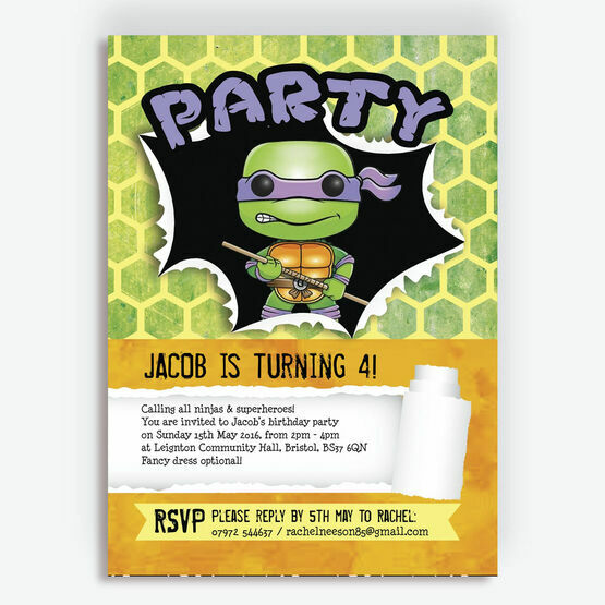 Turtle Superhero Birthday Party Invitation From 080 Each