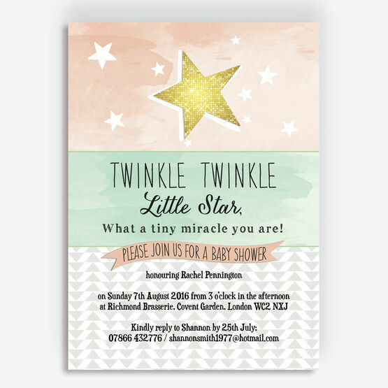 photograph relating to Free Printable Twinkle Twinkle Little Star Baby Shower Invitations referred to as Twinkle Star Boy or girl Shower Invitation towards £0.80 each and every