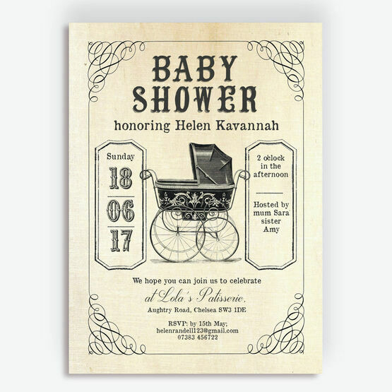 Vintage Pram Baby Shower Invitation