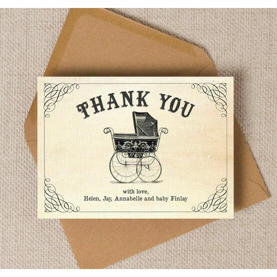 Vintage Pram Thank You Card