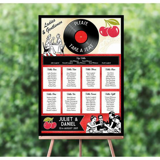 Retro Cherry Rockabilly Wedding Seating Plan