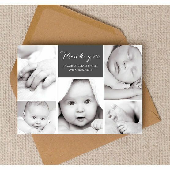 Photo Collage Birth Announcement Card