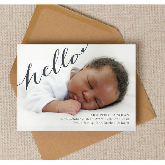 Calligraphy Photo Birth Announcement Card