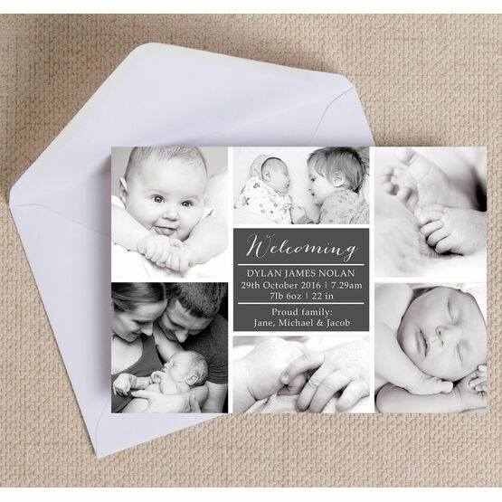 Classic Collage Photo Birth Announcement Card
