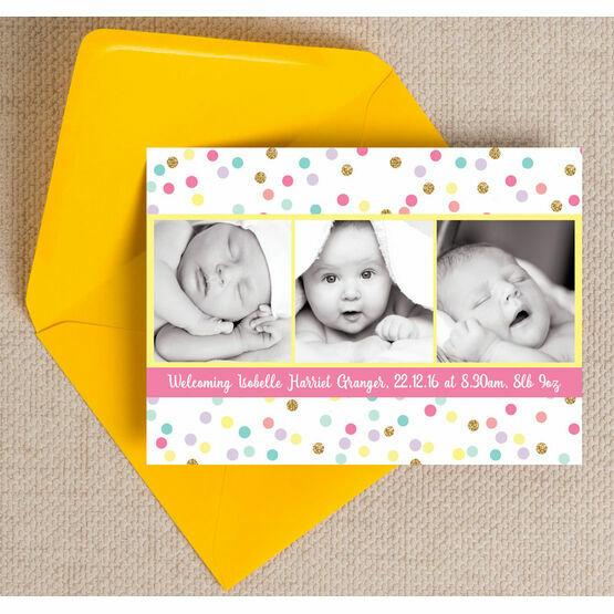 Pastel Confetti Photo Birth Announcement Card