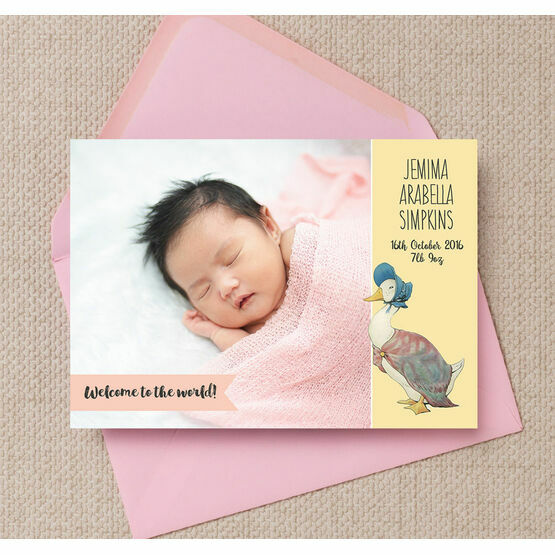 Beatrix Potter's Jemima Puddle-Duck Photo Birth Announcement Card