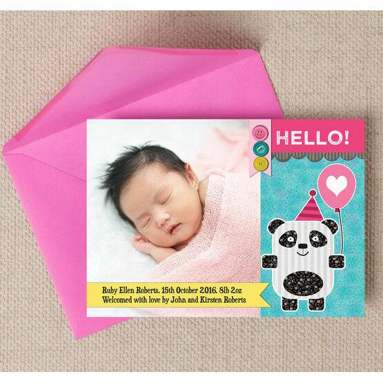 Panda Bear Photo Birth Announcement Card