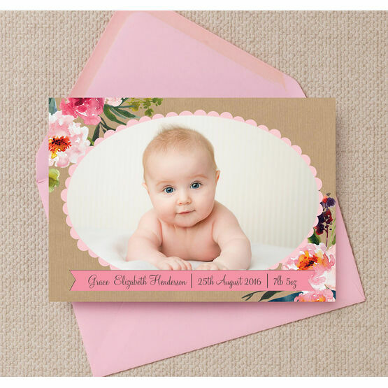 Rustic Flowers Photo Birth Announcement Card