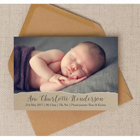 Rustic Kraft Photo Birth Announcement Card